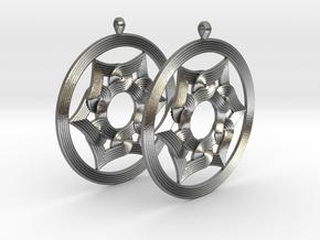 Umayyad Heart Flower Earrings in Natural Silver