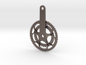 Chain Wheel pendent in Polished Bronzed Silver Steel