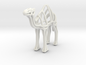 Camel Wireframe Keychain  in White Natural Versatile Plastic
