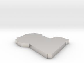 Libya - [Plain3D] in Rhodium Plated Brass