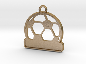Football / Soccer Ball Keychain in Polished Gold Steel