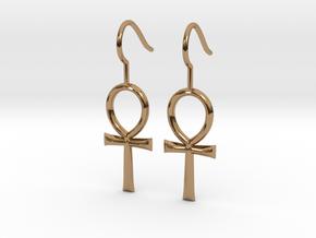Ankh Earrings in Polished Brass
