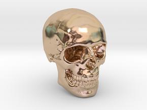 1/24  Human Skull Crane Schädel че́реп in 14k Rose Gold Plated Brass