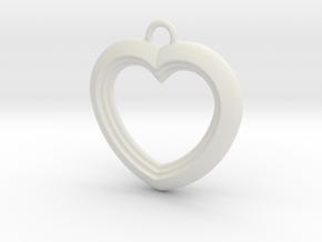 Cascading Heart Pendant in White Natural Versatile Plastic