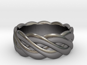 Braided celtic ring - t 19 in Polished Nickel Steel