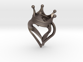 King Of Hearts Pendant 2 in Polished Bronzed Silver Steel