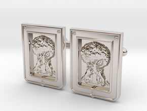 Borbolla Cufflinks in Rhodium Plated Brass