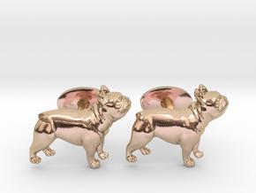 French Bulldog Cufflinks. in 14k Rose Gold Plated Brass