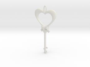 Magic Valentine's Heart Key (10% off until Feb14) in White Natural Versatile Plastic