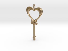 Magic Valentine's Heart Key (10% off until Feb14) in Polished Gold Steel