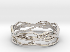 Ring Design 01 Ring Size 8.5 in Rhodium Plated Brass