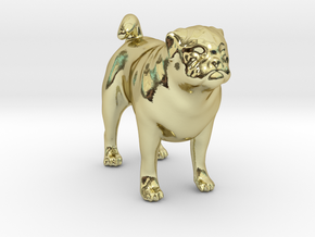 Standing Fawn Pug in 18k Gold