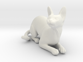 Laying Blue Sphynx in White Natural Versatile Plastic
