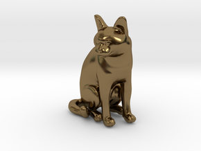 Sitting Gray Chartreux in Polished Bronze