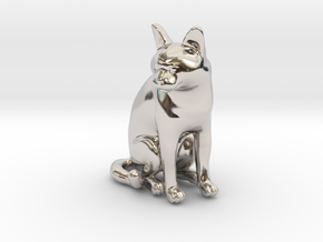 Sitting Gray Chartreux in Rhodium Plated Brass