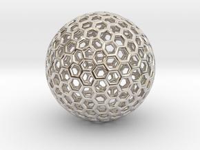 Goldberg Polyhedron pendant in Rhodium Plated Brass