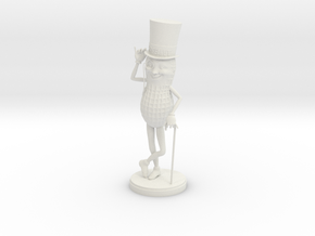 Mr. Peanut Figure in White Natural Versatile Plastic