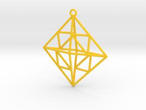 OCTAHEDRON Earring / Pendant Nº2 in Yellow Processed Versatile Plastic