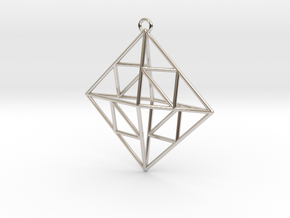 OCTAHEDRON Earring / Pendant Nº2 in Rhodium Plated Brass