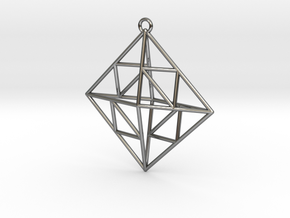 OCTAHEDRON Earring / Pendant Nº2 in Fine Detail Polished Silver