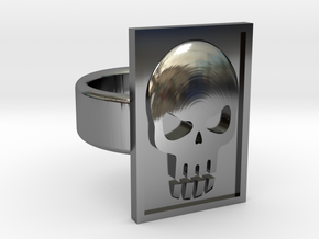 Phantom Skull Ring in Fine Detail Polished Silver