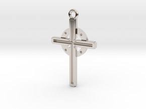 Cross larger in Rhodium Plated Brass