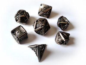 Stretcher Dice Set With Decader in Polished Bronzed Silver Steel