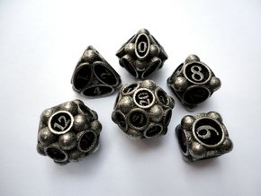 Spore Dice Set in Polished Bronzed Silver Steel