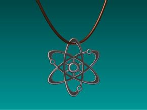 Planetary Atom Pendant in Polished Bronzed Silver Steel