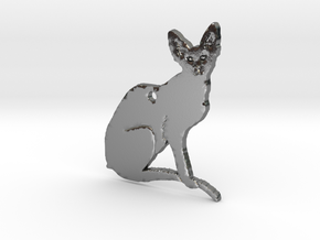 Oriental Cat with Details FINAL in Polished Silver