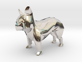 Low Poly French Bulldog in Platinum