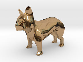 Low Poly French Bulldog in Polished Brass