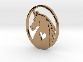 The Love of Unicorns Pendent in Polished Brass