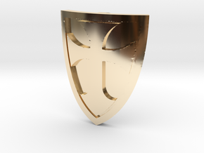 Cross Shield Curved in 14K Gold