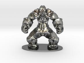 Rock Golem Earth Elemental Miniature in Polished Silver