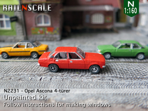 Opel Ascona 4-türer (N 1:160) in Smooth Fine Detail Plastic