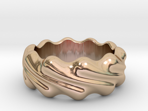Ring Wave 23 - Italian Size 23 in 14k Rose Gold Plated Brass