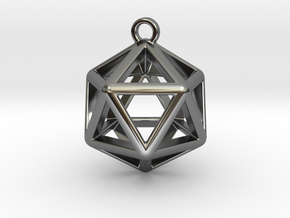 Icosahedron Pendant in Fine Detail Polished Silver