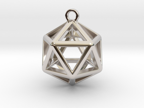 Icosahedron Pendant in Rhodium Plated Brass