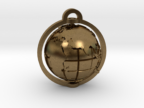 World Pendant in Natural Bronze: Extra Small