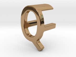 Two way letter pendant - FQ QF in Polished Brass