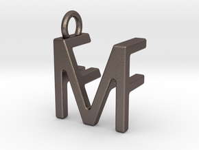 Two way letter pendant - FM MF in Polished Bronzed Silver Steel