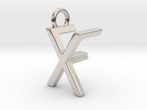 Two way letter pendant - FX XF in Rhodium Plated Brass