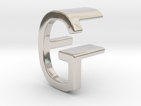 Two way letter pendant - FG GF in Rhodium Plated Brass