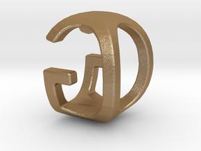 Two way letter pendant - GO OG in Polished Bronze Steel