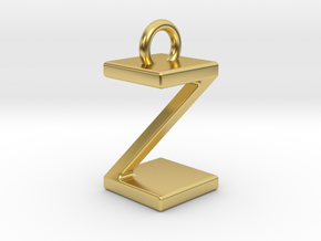 Two way letter pendant - ZZ Z in Polished Brass