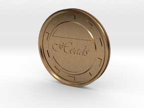 Heads/Tails Flip Coin or Decider in Natural Brass