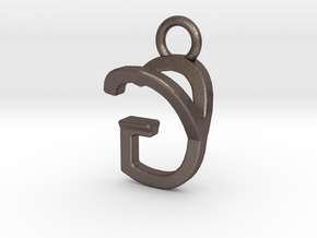 Two way letter pendant - GY YG in Polished Bronzed Silver Steel