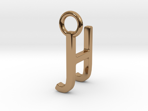 Two way letter pendant - HJ JH in Polished Brass