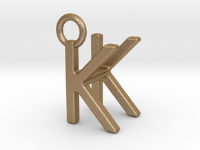 Two way letter pendant - HK KH in Matte Gold Steel